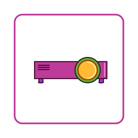 taught: Projector icon in simple style on white background. Device symbol