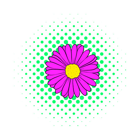 aster: Aster flower icon in comics style isolated on white background Illustration