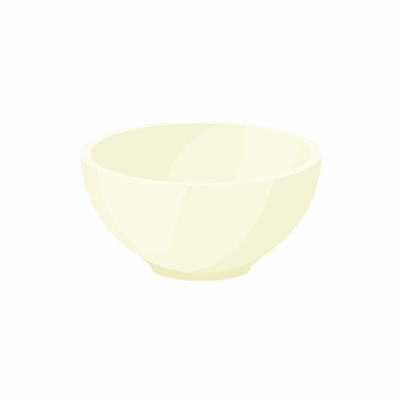 empty bowl: Empty white bowl icon in cartoon style on a white background Illustration