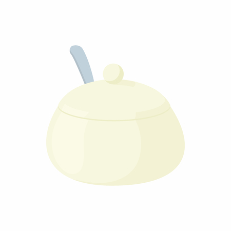 White porcelain sugar bowl icon in cartoon style on a white background