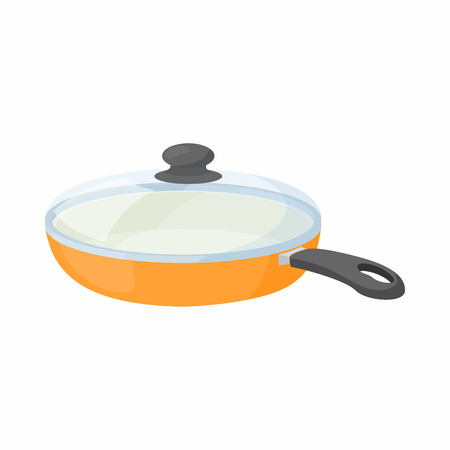 Ceramic frying pan with glass lid icon in cartoon style on a white background