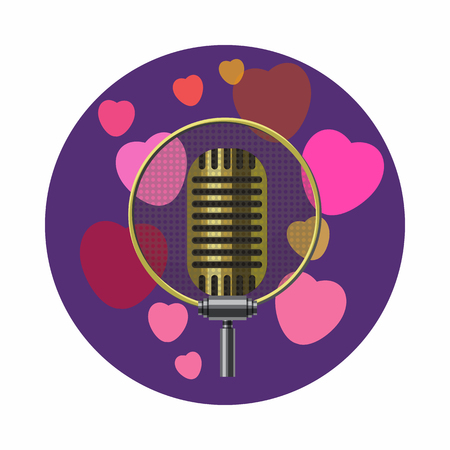 romance: Vintage microphone and pink hearts icon in cartoon style on a white background