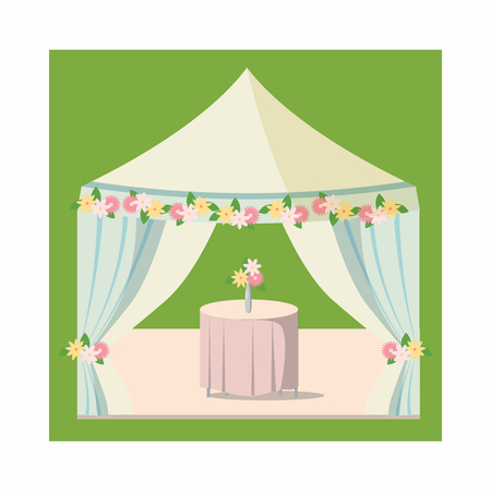 wedding table decor: Wedding marquee icon in cartoon style on a white background