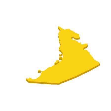 united arab emirate: Map UAE icon in isometric 3d style isolated on white background. Maps symbol