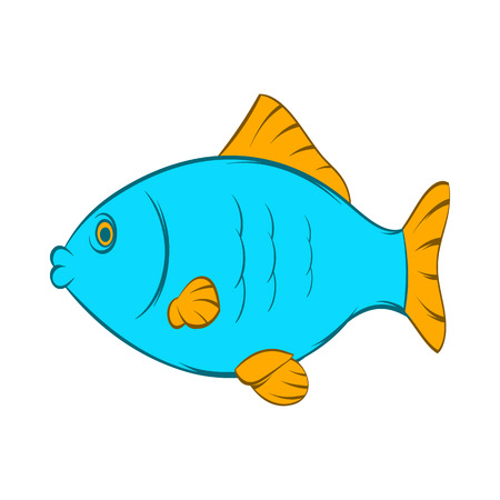 fishery: Blue fish icon in cartoon style on a white background Illustration