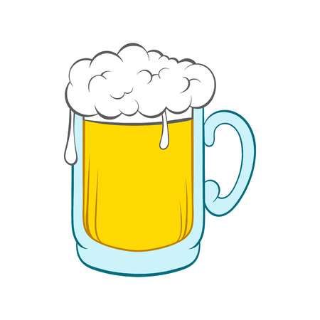 Beer mug icon in cartoon style on a white background