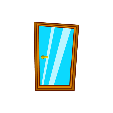 glass door: Glass door icon in cartoon style on a white background Illustration
