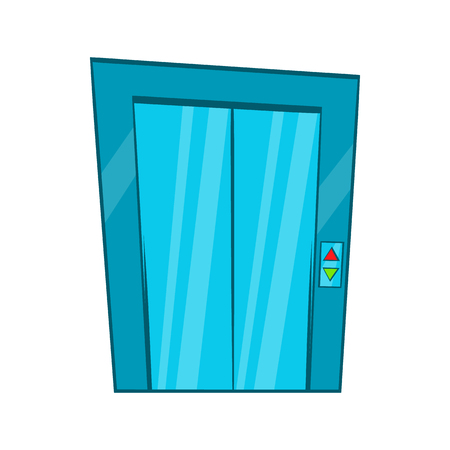 cartoon door: Elevator with closed door icon in cartoon style on a white background