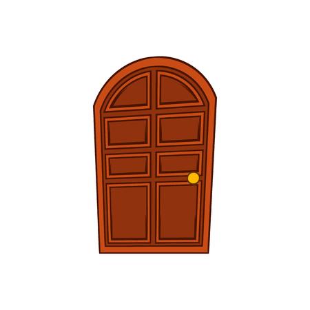 tocar la puerta: Marrón arqueó icono de la puerta de madera en estilo de dibujos animados sobre un fondo blanco