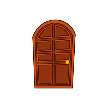 Brown arched wooden door icon in cartoon style on a white background