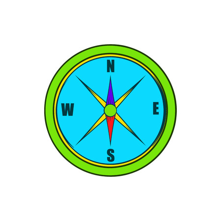 direction magnet: Compass icon in cartoon style on a white background