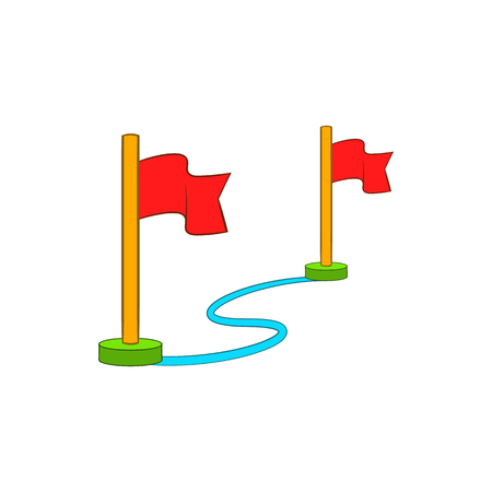 winning location: Route with a locator flags icon in cartoon style on a white background