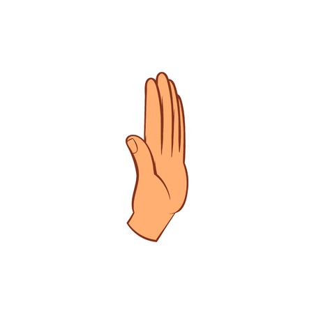 rejection: Stop gesture icon in cartoon style on a white background