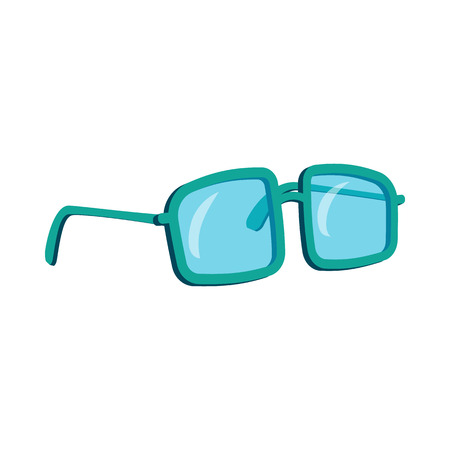 eyewear fashion: Glasses in a blue plastic frame icon in cartoon style on a white background Illustration