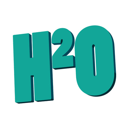 h20: H20 water formula icon in cartoon style on a white background Illustration