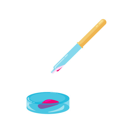 petri: Pipette and petri dish with red liquid icon in cartoon style on a white background Illustration