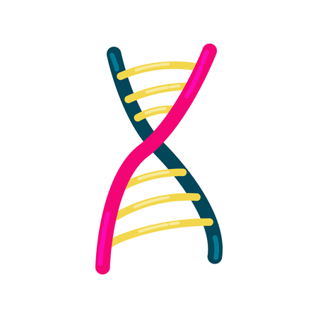 cloning: DNA strand icon in cartoon style on a white background Illustration