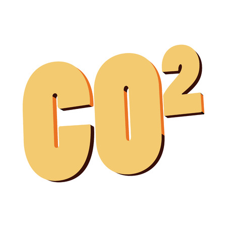 caution chemistry: Carbon dioxide, CO2 icon in cartoon style on a white background Illustration