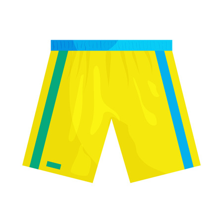 apparel part: Yellow sports shorts icon in cartoon style on a white background