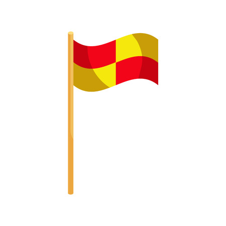 penalty flag: Referee flag icon in cartoon style on a white background