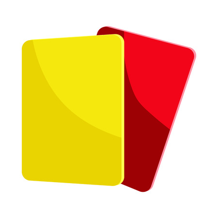 흰색 배경에 만화 스타일의 빨간색과 노란색 심판 카드 아이콘 일러스트
