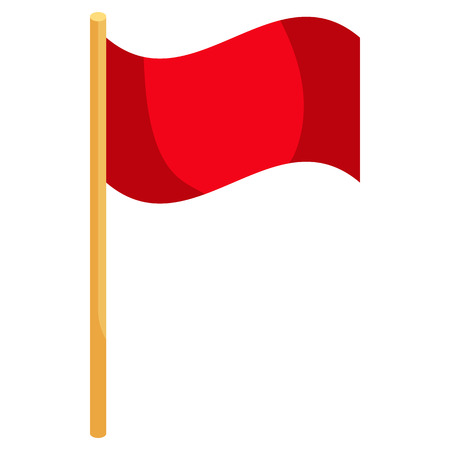 corner flag: Red soccer corner flag icon in cartoon style on a white background