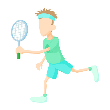 male tennis players: Tennis player in green shirt icon in cartoon style on a white background