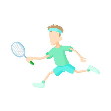 jugando tenis: Hombre que juega al tenis en el icono de estilo de dibujos animados sobre un fondo blanco