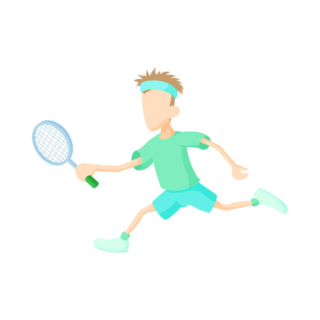 male tennis players: Man playing tennis icon in cartoon style on a white background