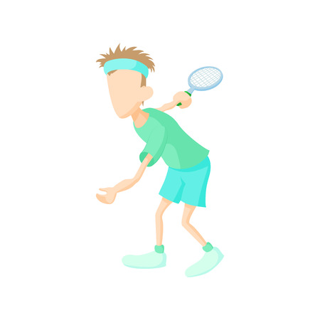male tennis players: Tennis player icon in cartoon style on a white background Illustration