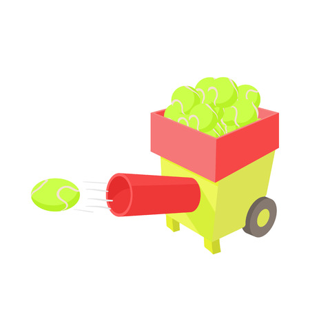 Tennis ball machine icon in cartoon style on a white background