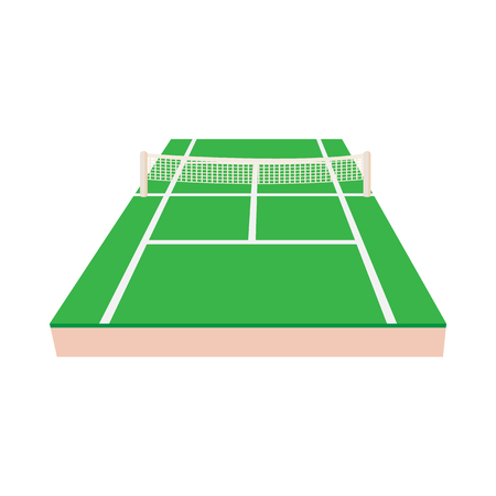 tennis racquet: Green tennis court icon in cartoon style on a white background