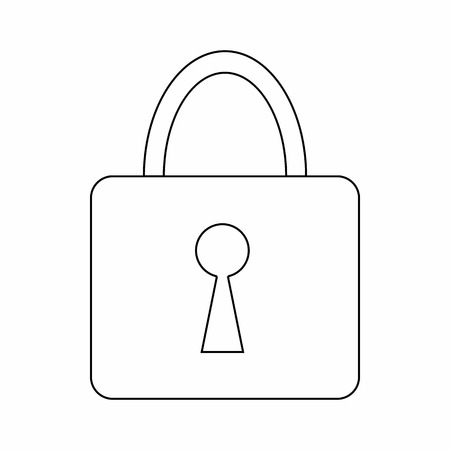 skinny: Padlock icon in thin line style isolated on white background