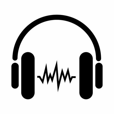 흰색 배경에 고립 된 간단한 스타일의 헤드폰 아이콘에서 소리. 장치 기호 일러스트
