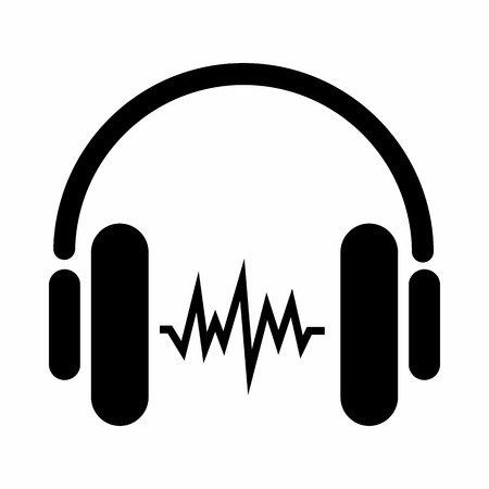 Sound in headphones icon in simple style isolated on white background. Device symbol Illustration
