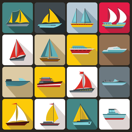 inflate boat: Boat and ship icons set in flat style for any design