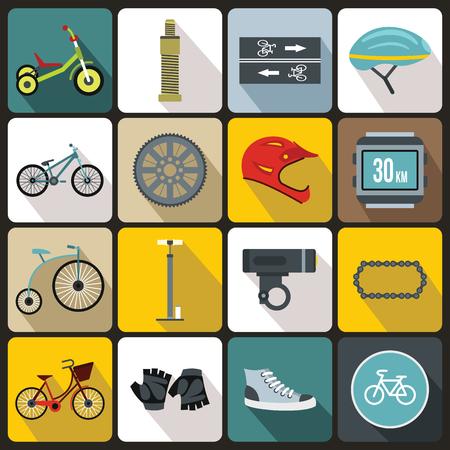 short break: Biking icons set in flat style for any design Illustration