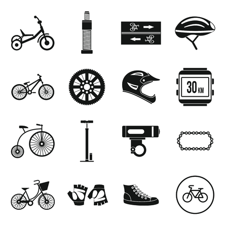short break: Biking icons set in simple style for any design