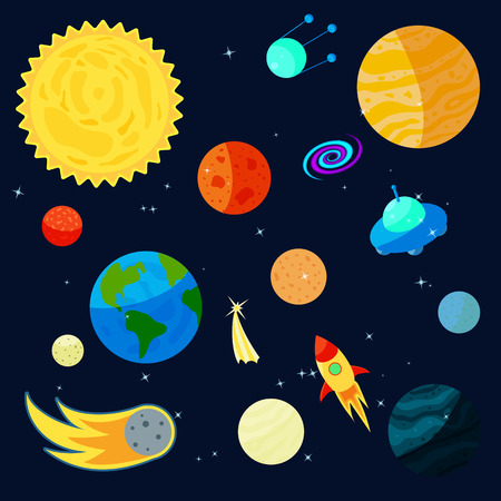 ursa minor: Space Icons set in cartoon style for any design Illustration