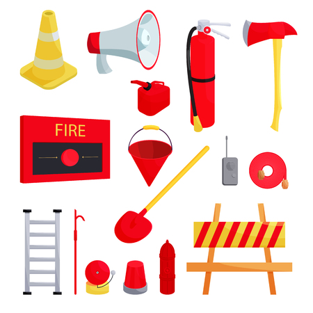 gas mask danger sign: Firefighter icons set in cartoon style isolated on white background