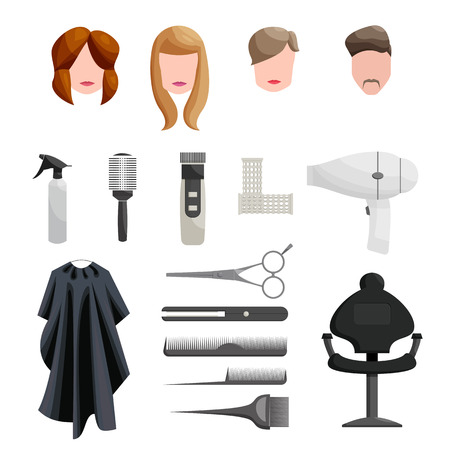 hairdresser scissors: Hairdresser Icons set in cartoon style isolated on white background Illustration
