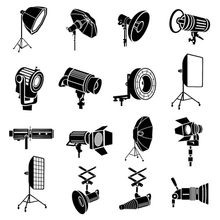 photography icons: Photography icons set in simple style isolated on white background