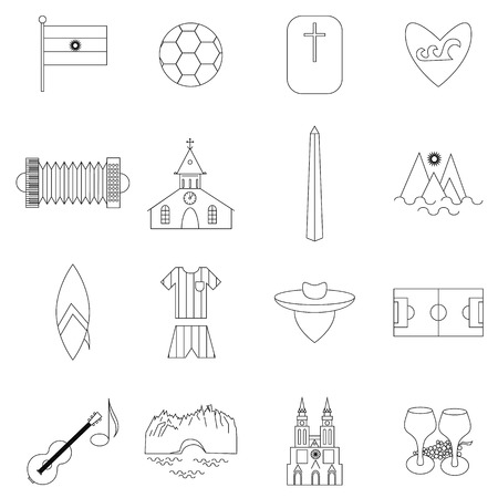 gaucho: Argentina outline icons isolated on white background