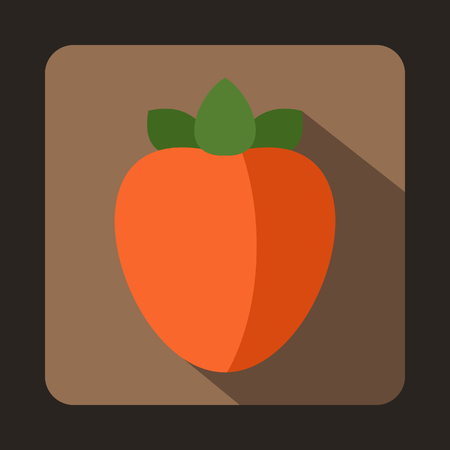 persimmon: Ripe persimmon icon in flat style on a brown background Illustration