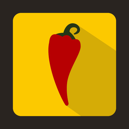 capsaicin: Red hot chili pepper icon in flat style on a yellow background