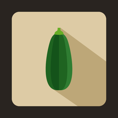 leaf lettuce: Green zucchini vegetable icon in flat style on a beige background Illustration