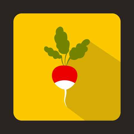 pungent: Fresh radish with leaves icon in flat style on a yellow background
