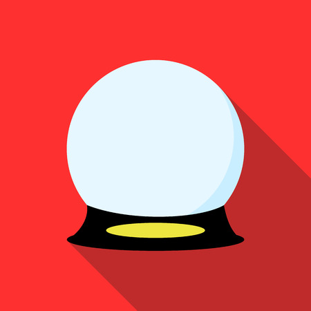 augur: Magic ball icon in flat style on a red background Illustration