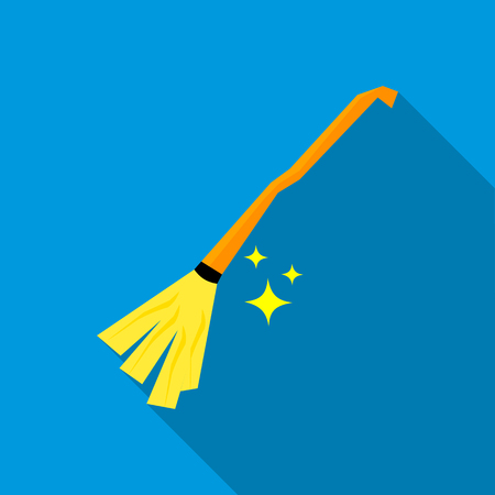whisk broom: Witches broom icon in flat style on a blue background Illustration