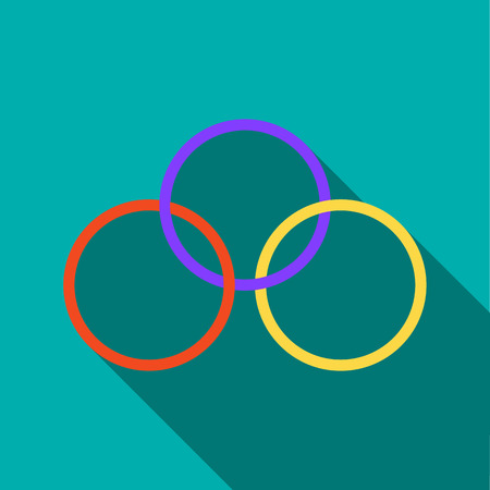conjure: Magic rings icon in flat style on a turquoise background
